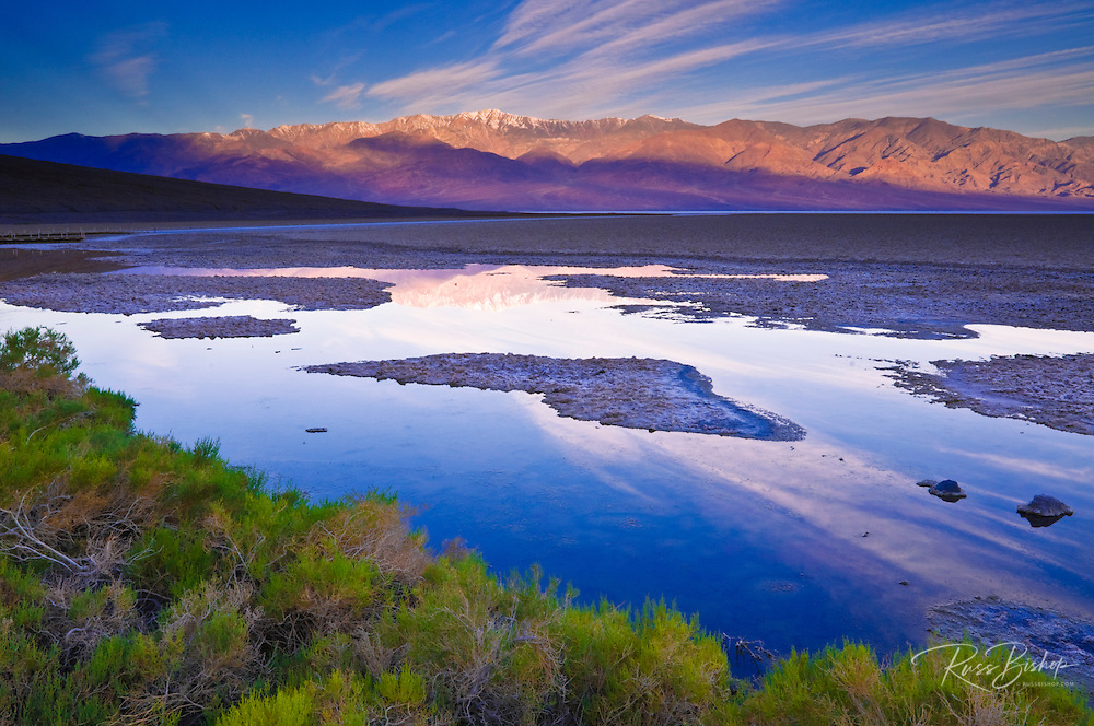 Badwater and Telescope Peak at dawn, Death Valley National Park. California