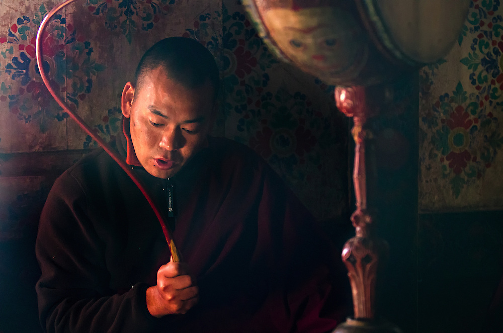 A monk practices for the Black Hat festival in Bumthang, Bhutan.