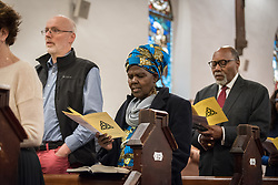 24 November 2019, Geneva, Switzerland: Members of the World Council of Churches Executive Committee attend Sunday service at the Emmanuel Episcopal Church, Geneva. Here, WCC moderator Dr Agnes Abuom (centre).