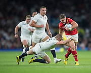 Twickenham, Great Britain,    Scott WILLIAMS, attempting to , Mike BROWN'S tackle, during the Pool A Game, England vs Wales.  2015 Rugby World Cup, Venue, The RFU Stadium, Twickenham, Surrey, ENGLAND. Saturday   26/09/2015  [Mandatory Credit; Peter Spurrier/Intersport-images]