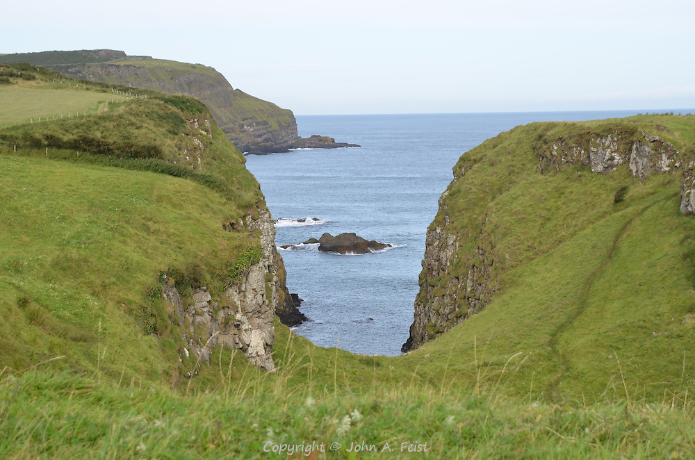 The ruins of Dunseverick Castle overlooking the sea.  County Antrim, Northern Ireland