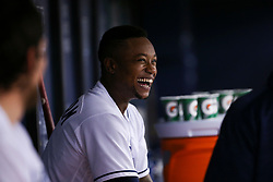 May 9, 2017 - St. Petersburg, Florida, U.S. - WILL VRAGOVIC   |   Times.Tampa Bay Rays shortstop Tim Beckham (1) laughs in the dugout during the game between the Kansas City Royals and the Tampa Bay Rays at Tropicana Field in St. Petersburg, Fla. on Tuesday, May 9, 2017. (Credit Image: © Will Vragovic/Tampa Bay Times via ZUMA Wire)