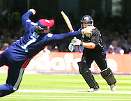 Photo © ANDREW FOSKER / SECONDS LEFT IMAGES 2008  - Daniel Flynn drives hard and is dropped by the diving Ian Bell who gets his hand to the ball but it doesn't stick -   England v New Zealand Black Caps - 5th ODI - Lord's Cricket Ground - 28/06/08 - London -  UK - All rights reserved