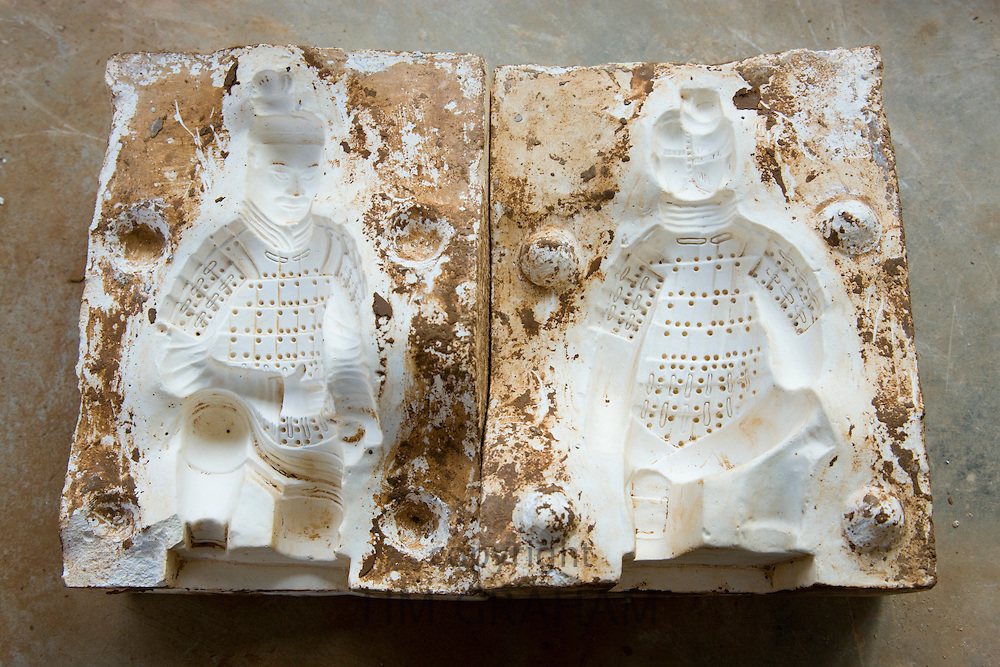 Mould used to make Terracotta Warriors souvenirs in factory, Xian, China