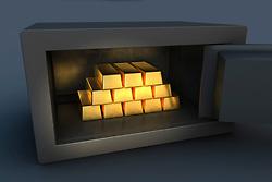 Gold ingots inside open security safe (Credit Image: © Image Source/Bjoern Holland/Image Source/ZUMAPRESS.com)