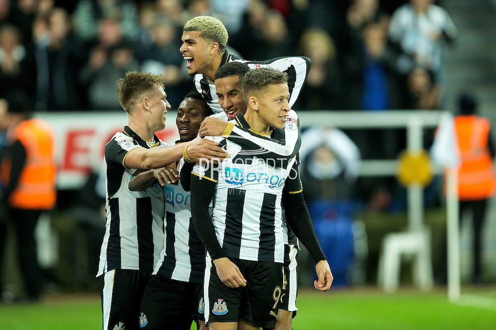 Newcastle United forward Dwight Gayle (#9) celebrates Newcastle United's second goal (2-1) during the EFL Sky Bet Championship match between Newcastle United and Nottingham Forest at St. James's Park, Newcastle, England on 30 December 2016. Photo by Craig Doyle.