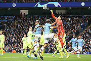 Dinamo Zagreb goalkeeper Dominik Livakovic (40) punches the high ball clear during the Champions League match between Manchester City and Dinamo Zagreb at the Etihad Stadium, Manchester, England on 1 October 2019.