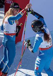 16.02.2017, St. Moritz, SUI, FIS Weltmeisterschaften Ski Alpin, St. Moritz 2017, Riesenslalom, Damen, 2. Lauf, im Bild Mikaela Shiffrin (USA, Damen Riesenslalom Silbermedaille), Sofia Goggia (ITA, Damen Riesenslalom Bronzemedaille) // ladie's Giant Slalom Silver medalist Mikaela Shiffrin of the USA ladie's Giant Slalom Bronze medalist Sofia Goggia of Italy react after their 2nd run of ladie's Giant Slalom of the FIS Ski World Championships 2017. St. Moritz, Switzerland on 2017/02/16. EXPA Pictures © 2017, PhotoCredit: EXPA/ Johann Groder