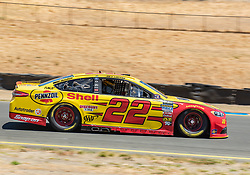June 22, 2018 - Sonoma, CA, U.S. - SONOMA, CA - JUNE 22:  Joey Logano, driving the (22) Ford for Team Penske heading toward turn 9 on Friday, June 22, 2018 at the Toyota/Save Mart 350 Practice day at Sonoma Raceway, Sonoma, CA (Photo by Douglas Stringer/Icon Sportswire) (Credit Image: © Douglas Stringer/Icon SMI via ZUMA Press)