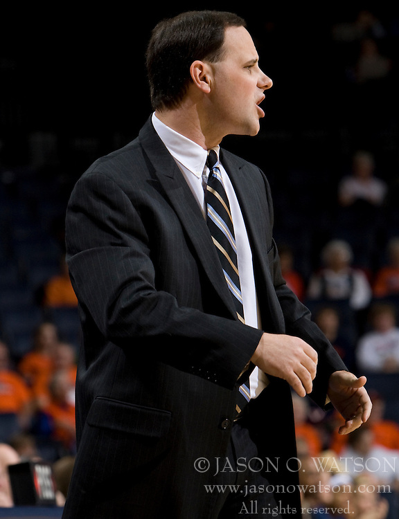 Richmond head coach Michael Shafer.  The Virginia Cavaliers women's basketball team faced the Richmond Spiders at the John Paul Jones Arena in Charlottesville, VA on November 18, 2007.