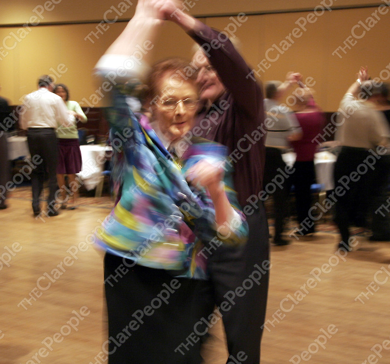 Bridie Howard enjoys a dance during the 'Dancing for Pleasure' evening which takes place at the Clare Inn every Sunday night.<br /> <br /> Photograph by Yvonne Vaughan.