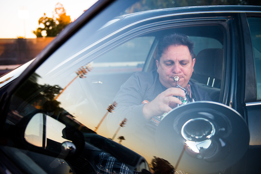 Frank Feliz plays his G buggle before the football game between Golden West College and Orange Coast College at Orange Coast College in Costa Mesa, California on Saturday, November 7, 2015. Feliz is a truck driver who has been a musician for over 30 years. Orange Coast  (Jose Lopez/ Sports Shooter Academy)