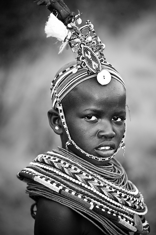 Local girl in traditional dress, Samburu, Kenya in traditional dress, Samburu, Kenya
