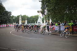 The peloton tackles a fast corner in the second lap of the Prudential RideLondon Classique, a 66 km road race in London on July 30, 2016 in the United Kingdom.