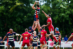Ben Glynn of Harlequins competes with Sam Jeffries of Bristol Rugby at a lineout - Rogan/JMP - 05/08/2017 - RUGBY UNION - Cleve RFC - Bristol, England - Bristol Rugby v Harlequins - Pre-Season Friendly.