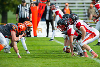 KELOWNA, BC - OCTOBER 6: The Okanagan Sun line up against the VI Raiders during  BCFC regular season at the Apple Bowl on October 6, 2019 in Kelowna, Canada. (Photo by Marissa Baecker/Shoot the Breeze)