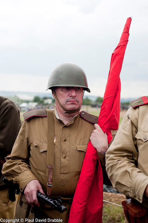A Re-enactor portrays a Soviet soldier from the Russian 13th Guards Rifle Division &quot;Poltavaskaya&quot; during the &quot;Spam 1940s Wartime Weekend&quot; at the Ponderosa in Heckmondwike<br />