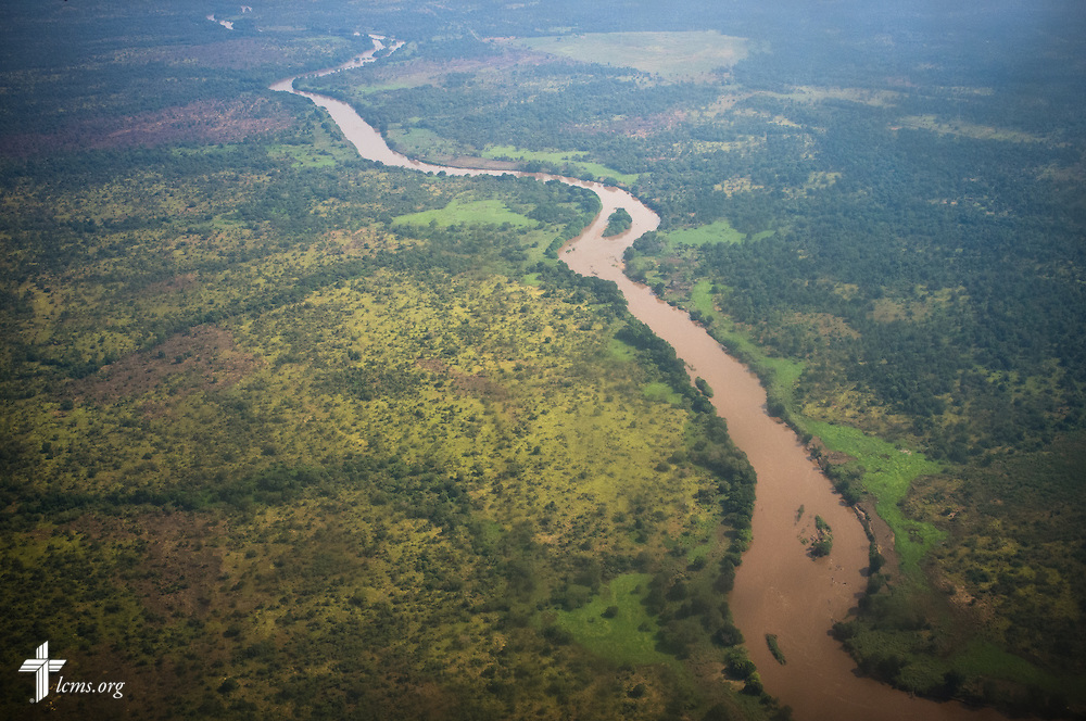 A river cuts through the Ethiopian landscape, seen from an aircraft on approach to Gambella, Ethiopia, on Friday, Nov. 14, 2014. LCMS Communications/Erik M. Lunsford