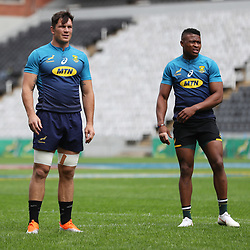 Francois Louw of South Africa with Aphiwe Dyantyi of South Africa during the South African Springboks Captain's Run at Jonsson Kings<br /> Park ,Durban,South Africa.17,08,2018 Photo by (Steve Haag)