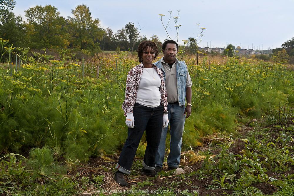 Southern Horizons farmers Margaret Zondo and Rodney Garnes in their market garden at McVean incubator farm, Brampton, Ontario.