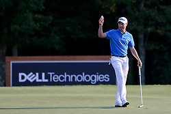 September 4, 2017 - Norton, Massachusetts, United States - Justin Thomas waves to the crowd after putting the 18th green and winning the Dell Technologies Championship at TPC Boston. (Credit Image: © Debby Wong via ZUMA Wire)