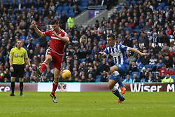 Daniel  Ayala of Middlesbrough shoots - Mandatory byline: Jason Brown/JMP - 07966 386802 - 19/12/2015 - FOOTBALL - American Express Community Stadium - Brighton,  England - Brighton & Hove Albion v Middlesbrough - Championship