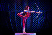 UNITED KINGDOM, London: 8 February 2016. Odka a contortionist from Mongolia performs her act for a photo-call for a circus for theatre performance called Zippos Cirque Berserk at the Peacock Theater  in central London.  Pic by Andrew Cowie / Story Picture Agency