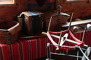 Hand loom with spindles Photographed in Slovakia