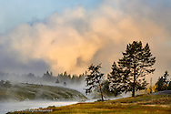 Steaming mist at sunrise along Firehole River, Yellowstone National Park, Wyoming/Montana.