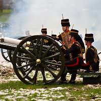 London Feb 6th  Green Park a 41-gun salute is  performed by the King's Troop Royal Horse Artillery in Green Park  to mark Queen  accession anniversary...Standard Licence feee's apply  to all image usage.Marco Secchi  tel +44 (0) 845 050 6211 .e-mail ms@msecchi.com .http://www.marcosecchi.com