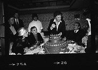 Marcel Marceau<br /> cutting his 60th birthday cake in NY, with Paul Bocuse and Charles Aznavour<br /> <br /> He cut the cake made up parodies of french, german japanese, and yiddish and mime
