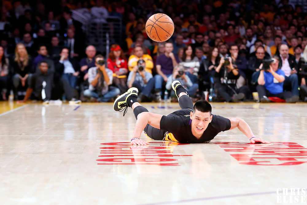 31 October 2014: Los Angeles Lakers guard Jeremy Lin (17) falls during the Los Angeles Clippers 118-111 victory over the Los Angeles Lakers, at the Staples Center, Los Angeles, California, USA.