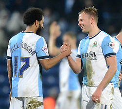 Blackburn Rovers's Jordan Rhodes celebrates with team-mate Lee Williamson at the end of the match - Photo mandatory by-line: Richard Martin-Roberts/JMP - Mobile: 07966 386802 - 11/03/2015 - SPORT - Football - Blackburn - Ewood Park - Blackburn Rovers v Bolton Wanderers - Sky Bet Championship