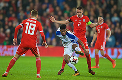 CARDIFF, WALES - Tuesday, November 14, 2017: Wales' captain Chris Gunter and Panama's Ricardo Ávila during the international friendly match between Wales and Panama at the Cardiff City Stadium. (Pic by David Rawcliffe/Propaganda)