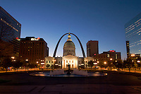 Old Court House and Gateway Arch at Dawn, Jefferson National Expansion Memorial, St. Louis, Missouri