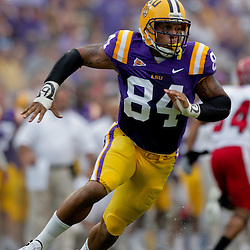 19 September 2009: LSU Tigers defensive end Rahim Alem (84) rushes the quarterback during a 31-3 win by the LSU Tigers over the University of Louisiana-Lafayette Ragin Cajuns at Tiger Stadium in Baton Rouge, Louisiana.