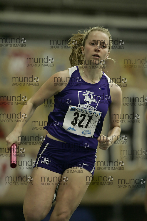 (Windsor, Ontario---12 March 2010) Lisa Grieve of University of Western Ontario Mustangs   competes in the  at the 2010 Canadian Interuniversity Sport Track and Field Championships at the St. Denis Center. Photograph copyright Geoff Robins/Mundo Sport Images. www.mundosportimages.com