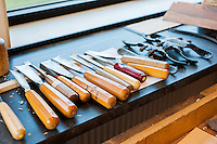 Scraping and finishing tools used in the cabinetmaking section of the school.
