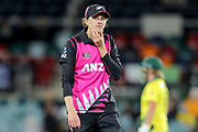 Amy Satterthwaite. Women's T20 international Cricket, Australia v New Zealand White Ferns.  Manuka Oval, Canberra, 5 October 2018. Copyright Image: David Neilson / www.photosport.nz
