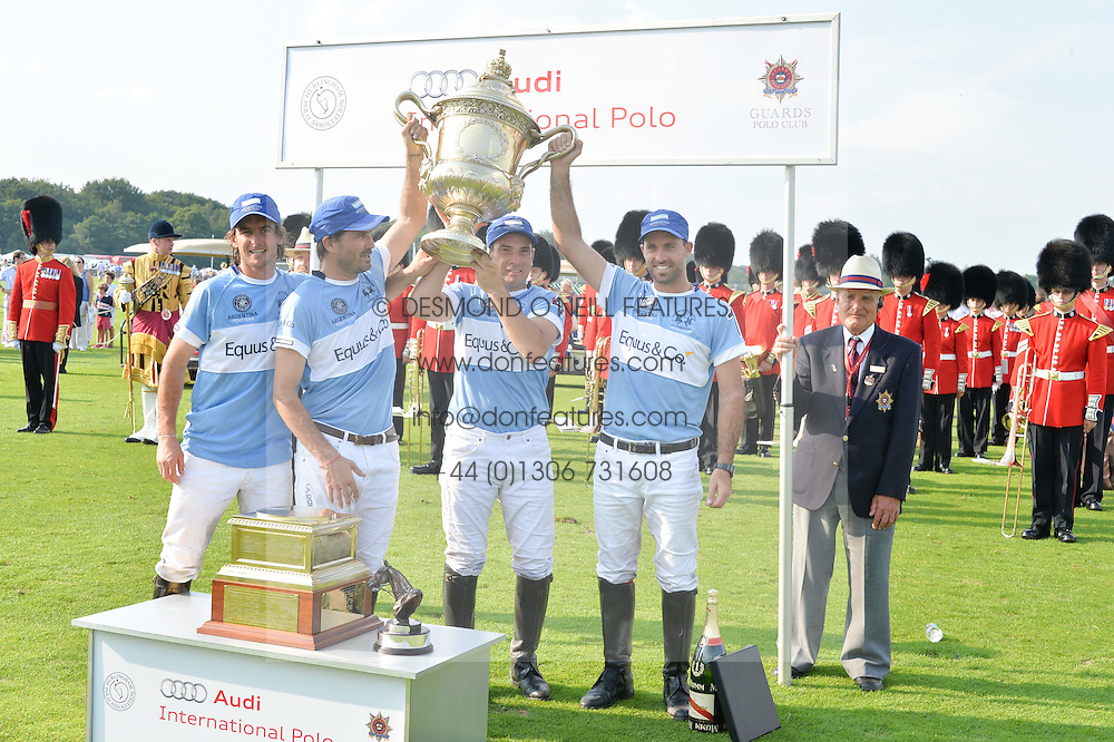 The Argentine Polo team winners of the Coronation Cup (Adolfo Cambiaso, Facundo Pieres, Julio Ruggeri, Francisco Beláustegui)at the Audi International Polo at Guards Polo Club, Windsor Great Park, Egham, Surrey on 26th July 2014.