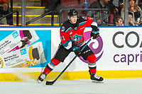 KELOWNA, BC - OCTOBER 12: Pavel Novak #11 of the Kelowna Rockets looks for the pass against the Kamloops Blazers at Prospera Place on October 12, 2019 in Kelowna, Canada. (Photo by Marissa Baecker/Shoot the Breeze)
