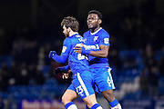 Gillingham midfielder Bradley Dack (23) scores a goal (1-1) and get congratulated by Gillingham defender Adedeji Oshilaja (6) during the EFL Sky Bet League 1 match between Gillingham and AFC Wimbledon at the MEMS Priestfield Stadium, Gillingham, England on 21 February 2017. Photo by Martin Cole.