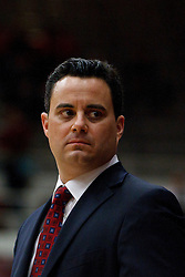 February 3, 2011; Stanford, CA, USA;  Arizona Wildcats head coach Sean Miller on the sidelines during the first half against the Stanford Cardinal at Maples Pavilion.
