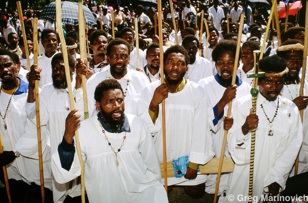 Members of the Zulu traditionalist Baptist Nazareth Church or  Shembe sect at a rally in  Durban, South Africa, 1994.