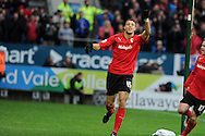 Cardiff city's Rudy Gestede (15) celebrates after he scores the opening goal. NPower championship, Cardiff city v Millwall at the Cardiff city stadium in Cardiff, South Wales on Saturday 29th Dec 2012. pic by Andrew Orchard, Andrew Orchard sports photography,