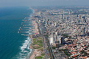 Aerial Photography of Tel Aviv coast line as seen from the south, Israel