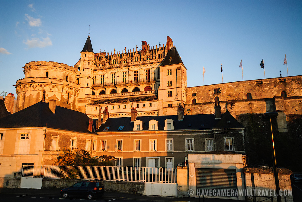 The setting sun casts its last rays on the Chateau d'Amboise, a French castle in the Loire Valley town of Amboise.