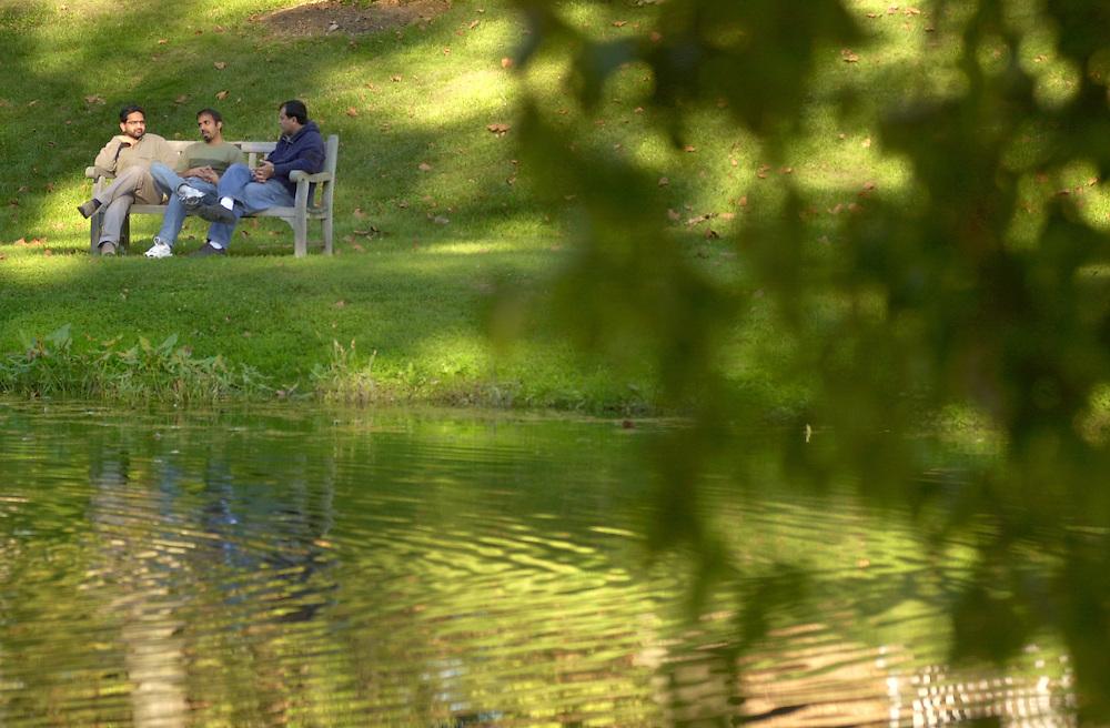 16656Campus Shots : Fall 2004 : Emerti park Gazebo, Students