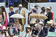 Henley, Great Britain.  The Stewards' Enclosure, Umbrella's Henley Royal Regatta. River Thames Henley Reach.  Royal Regatta. River Thames Henley Reach.  Friday   01/07/2011  [Mandatory Credit Peter Spurrier/ Intersport Images] 2011 Henley Royal Regatta. HOT. Great Britain . HRR