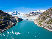 An aerial view of Nellie Juan Glacier, Prince William Sound, Alaska.